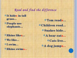 Read and find the difference It hides in tall grass… People use elephants… Rh