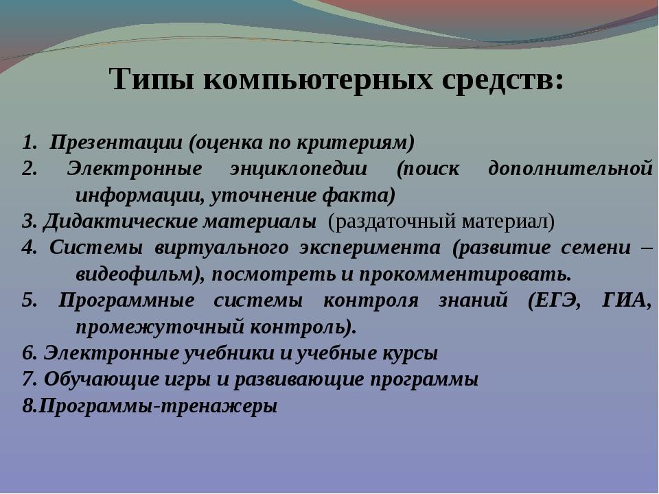 Типы компьютерных средств: 1. Презентации (оценка по критериям) 2. Электронны...