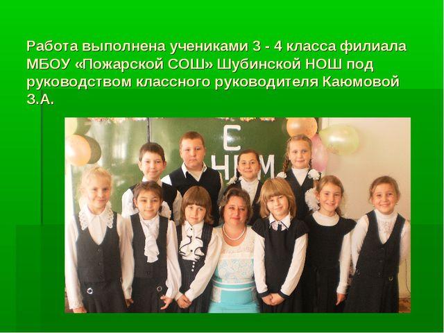 Работа выполнена учениками 3 - 4 класса филиала МБОУ «Пожарской СОШ» Шубинско...