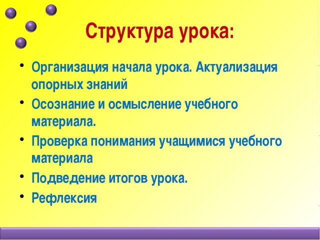 Структура урока: Организация начала урока. Актуализация опорных знаний Осозн...