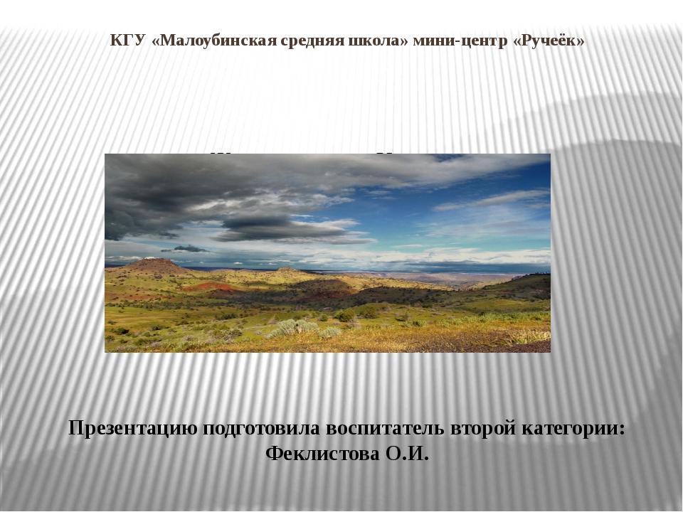 КГУ «Малоубинская средняя школа» мини-центр «Ручеёк» Животные степи Казахстан...