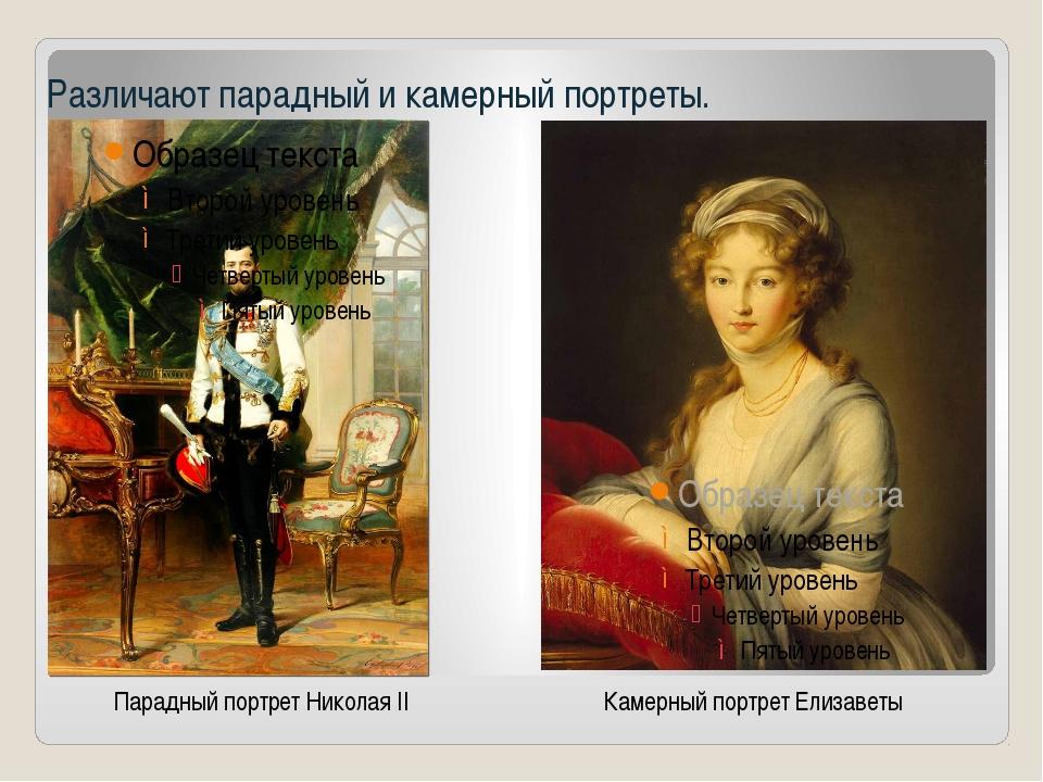 Различают парадный и камерный портреты. Парадный портрет Николая II Камерный...