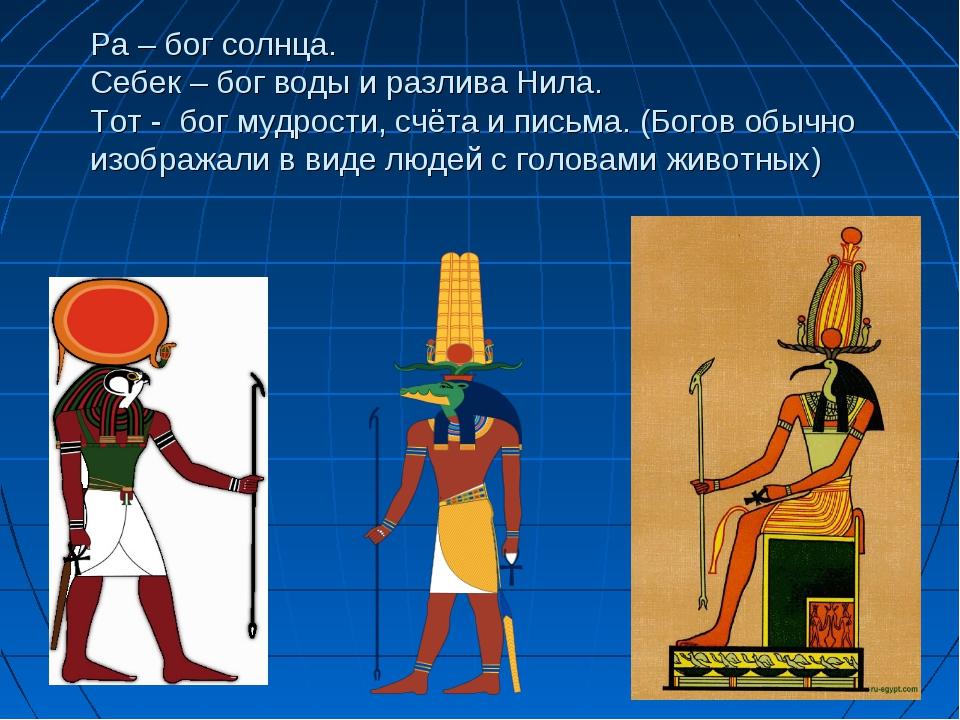 Ра – бог солнца. Себек – бог воды и разлива Нила. Тот - бог мудрости, счёта и...