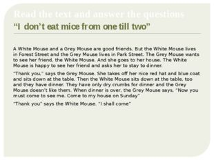 "Read the text and answer the questions ""I don't eat mice from one till two"""