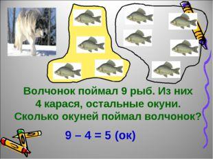 Волчонок поймал 9 рыб. Из них 4 карася, остальные окуни. Сколько окуней пойма
