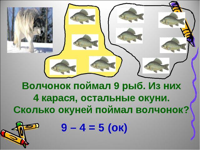Волчонок поймал 9 рыб. Из них 4 карася, остальные окуни. Сколько окуней пойма...