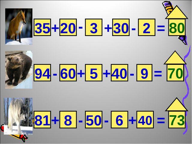 35 20 3 2 30 9 40 5 60 94 40 6 50 8 81 + - + - = = = + + + + - - - - 80 70 73