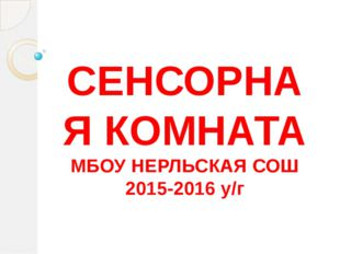 СЕНСОРНАЯ КОМНАТА МБОУ НЕРЛЬСКАЯ СОШ 2015-2016 у/г