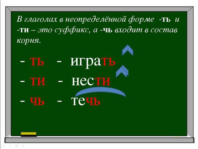 В глаголах в неопределённой форме -ть и -ти – это суффикс, а -чь входит в сос...