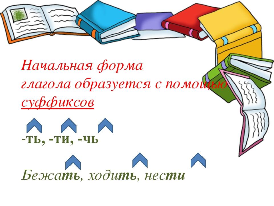 Начальная форма глагола образуется с помощью суффиксов -ть, -ти, -чь Бежать,...