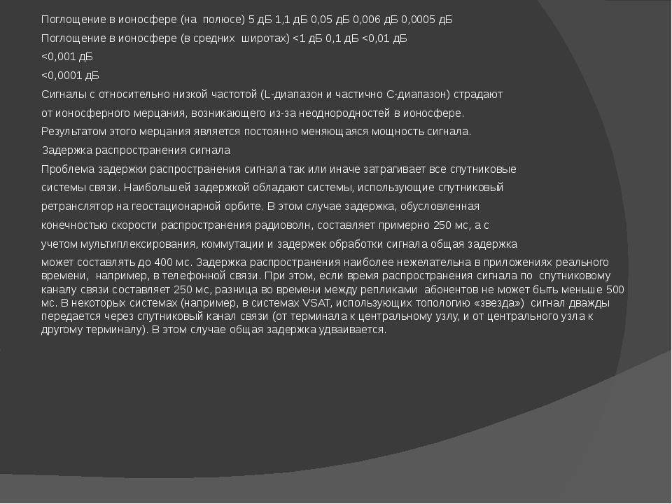 Поглощение в ионосфере (на полюсе) 5 дБ 1,1 дБ 0,05 дБ 0,006 дБ 0,0005 дБ Пог...