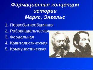 Формационная концепция истории Маркс, Энгельс Первобытнообщинная Рабовладельч