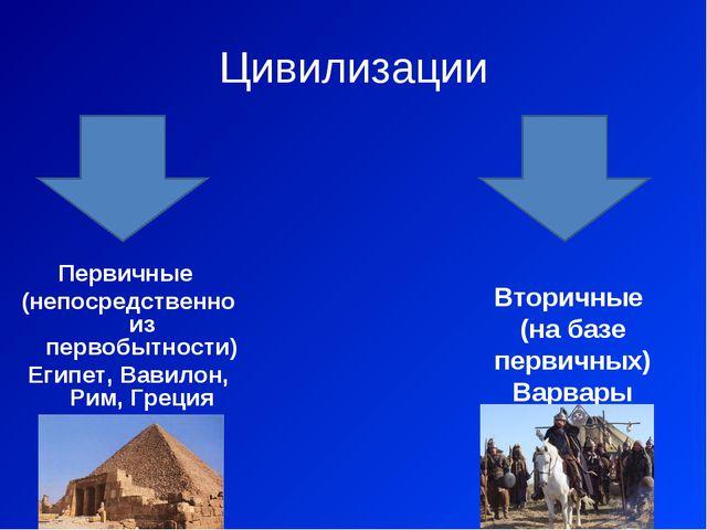 Цивилизации Первичные (непосредственно из первобытности) Египет, Вавилон, Рим...