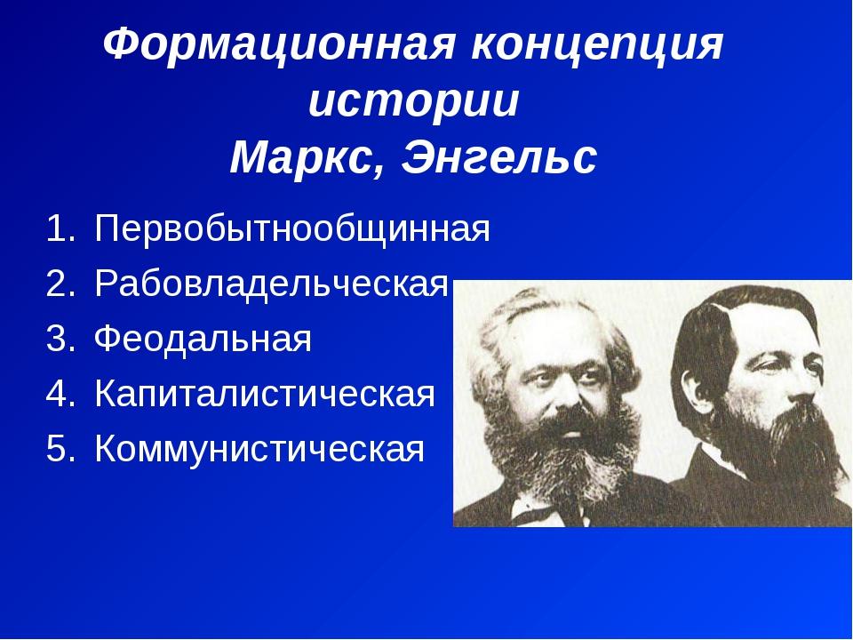 Формационная концепция истории Маркс, Энгельс Первобытнообщинная Рабовладельч...