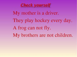 My mother is a driver. They play hockey every day. A frog can not fly. My bro