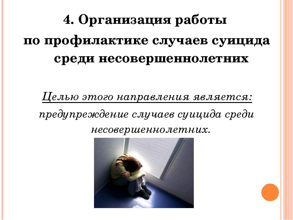 4. Организация работы по профилактике случаев суицида среди несовершеннолетни...