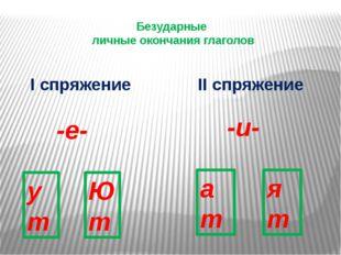 Безударные личные окончания глаголов I спряжение II спряжение -е- -и- ут Ю т
