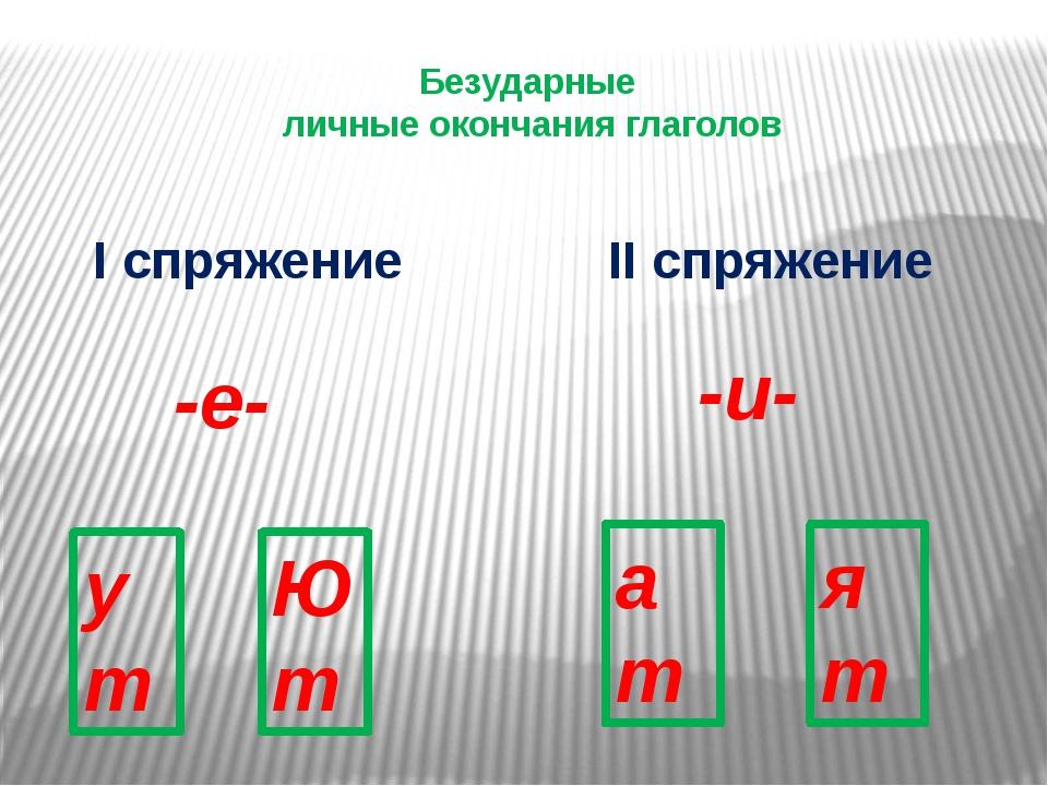 Безударные личные окончания глаголов I спряжение II спряжение -е- -и- ут Ю т...