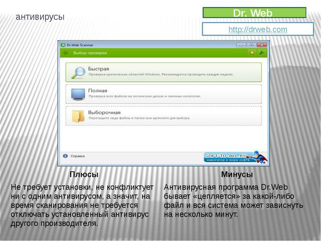 Dr. Web http://drweb.com антивирусы Плюсы Минусы Не требует установки, не кон...