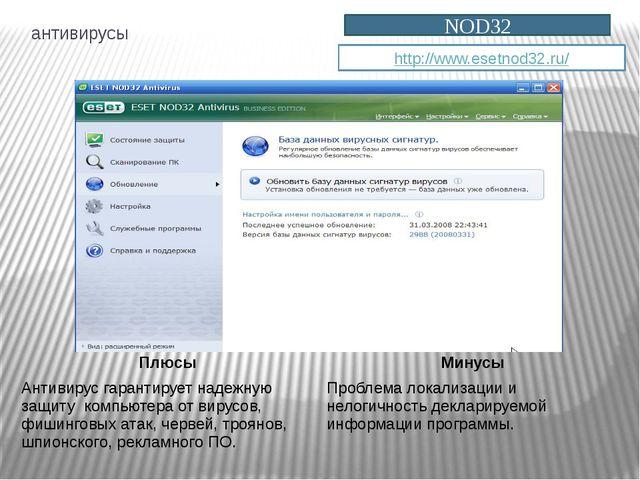 антивирусы NOD32 http://www.esetnod32.ru/ Плюсы Минусы Антивирус гарантирует...