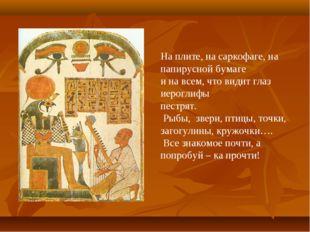 На плите, на саркофаге, на папирусной бумаге и на всем, что видит глаз иерогл