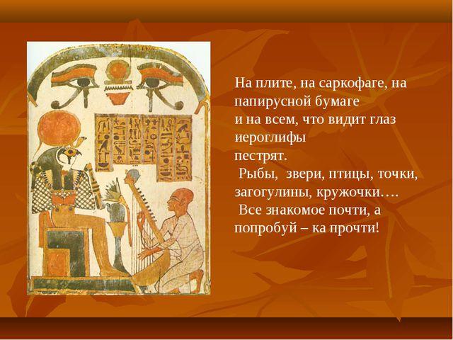 На плите, на саркофаге, на папирусной бумаге и на всем, что видит глаз иерогл...