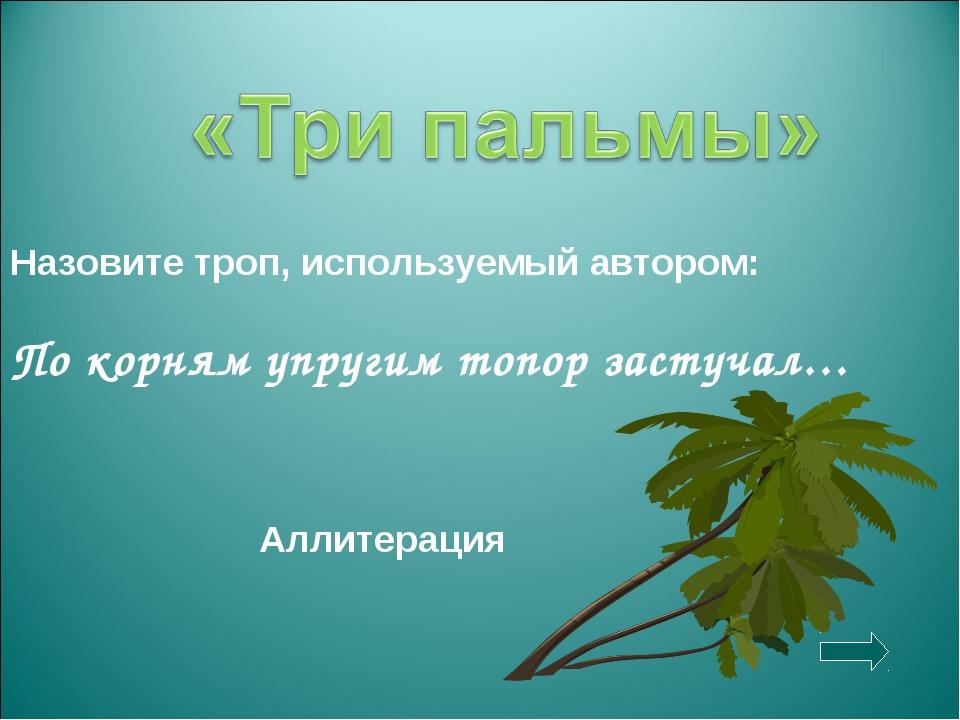 Назовите троп, используемый автором: По корням упругим топор застучал… Аллите...