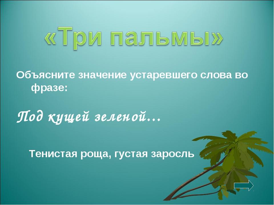 Объясните значение устаревшего слова во фразе: Под кущей зеленой… Тенистая ро...