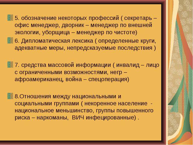 5. обозначение некоторых профессий ( секретарь – офис менеджер, дворник – мен...