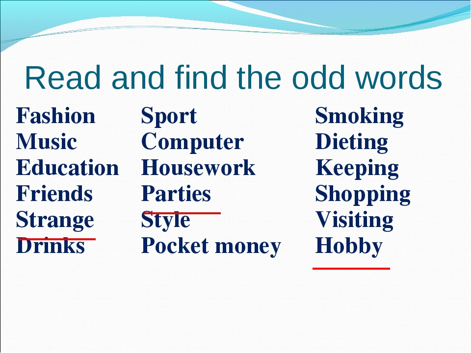 Read and find the odd words Fashion Music Education Friends Strange DrinksSp...