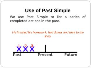 Use of Past Simple We use Past Simple to list a series of completed actions i