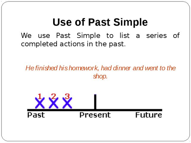 Use of Past Simple We use Past Simple to list a series of completed actions i...