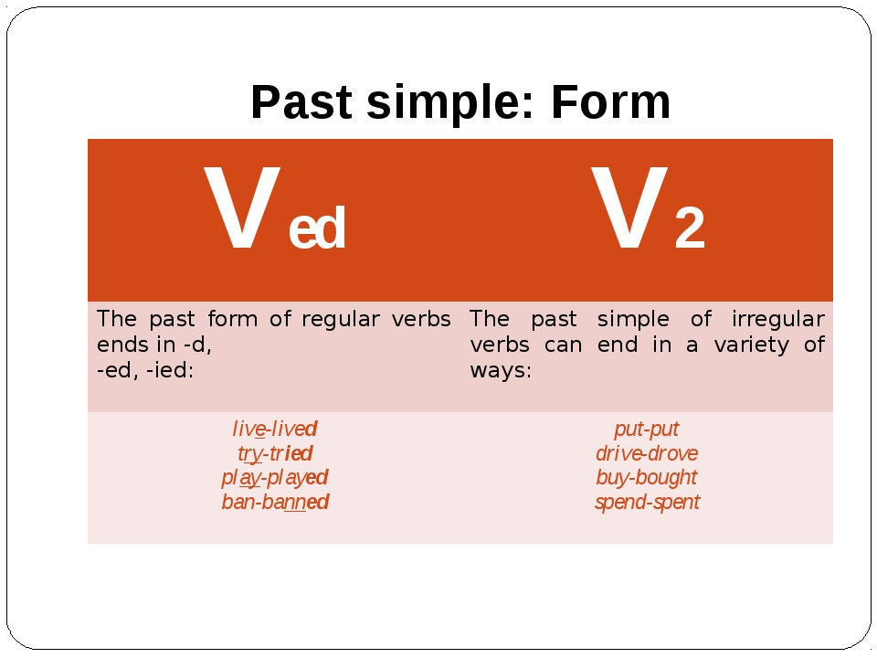Past simple: Form Ved V2 The past form of regular verbs ends in -d, -ed, -ied...