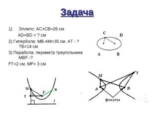 Задача Эллипс: АС+СВ=26 см АD+BD = ? см 2) Гипербола: MB-AM=35 см. АТ - ? ТВ=