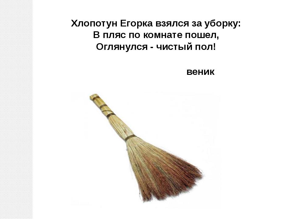 веник Хлопотун Егорка взялся за уборку: В пляс по комнате пошел, Оглянулся...