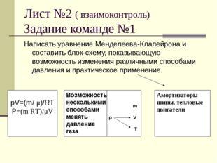 Лист №2 ( взаимоконтроль) Задание команде №1 Написать уравнение Менделеева-Кл