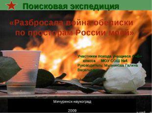 Поисковая экспедиция Мичуринск-наукоград 2009 «Разбросала война обелиски по