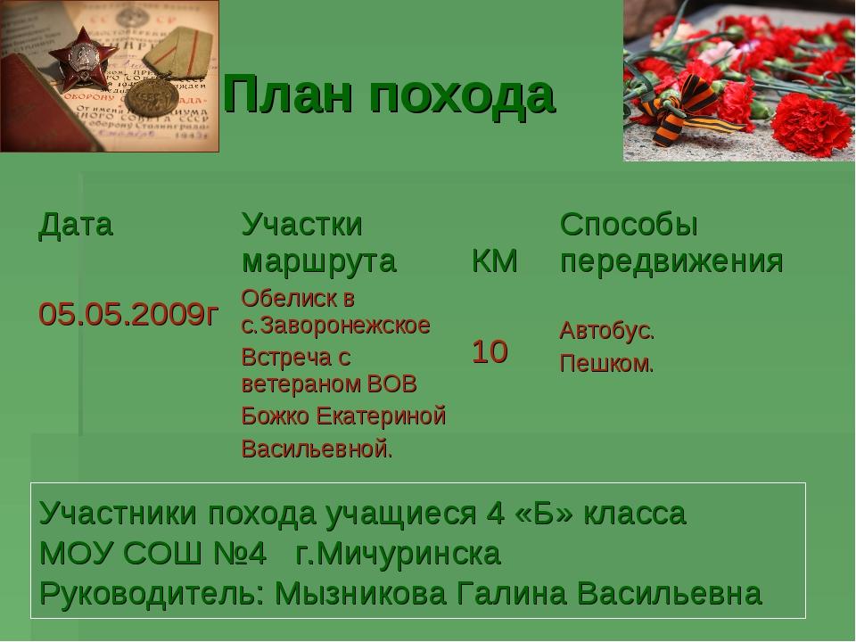План похода Участники похода учащиеся 4 «Б» класса МОУ СОШ №4 г.Мичуринска Ру...