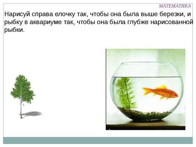 Нарисуй справа елочку так, чтобы она была выше березки, и рыбку в аквариуме т...