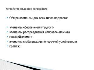 Общие элементы для всех типов подвесок: элементы обеспечения упругости элемен