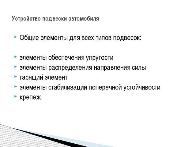 Общие элементы для всех типов подвесок: элементы обеспечения упругости элемен...