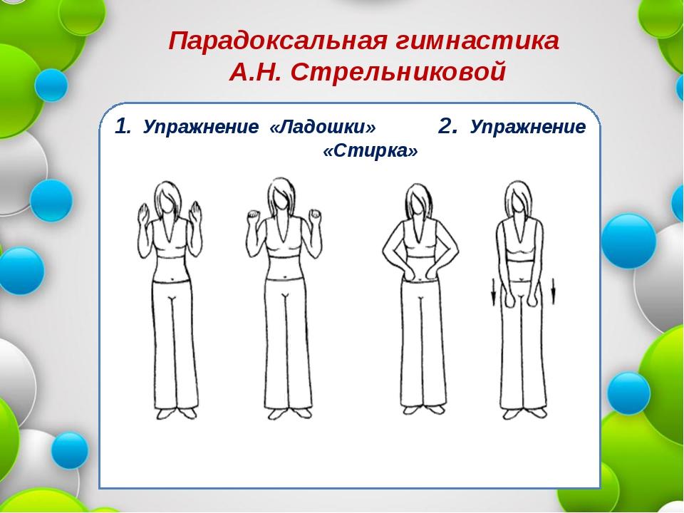 Парадоксальная гимнастика А.Н. Стрельниковой 1. Упражнение «Ладошки» 2. Упраж...