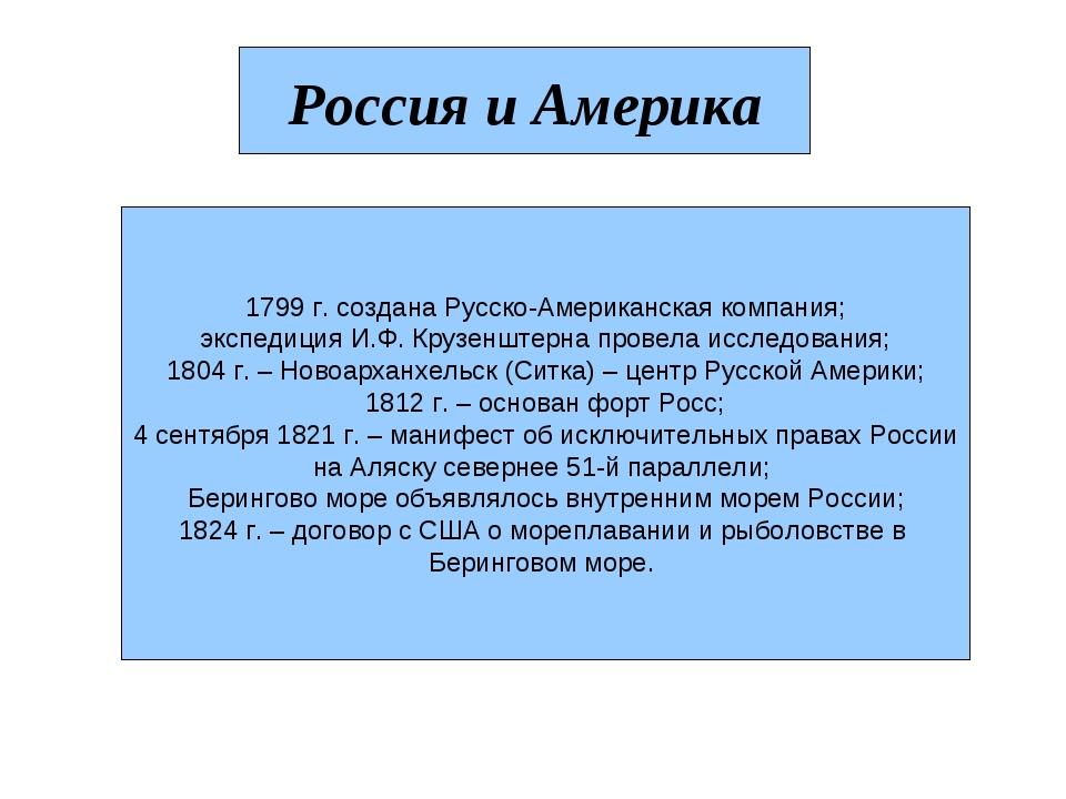 Россия и Америка 1799 г. создана Русско-Американская компания; экспедиция И.Ф...