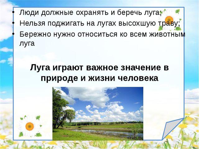 Люди должные охранять и беречь луга; Нельзя поджигать на лугах высохшую траву...