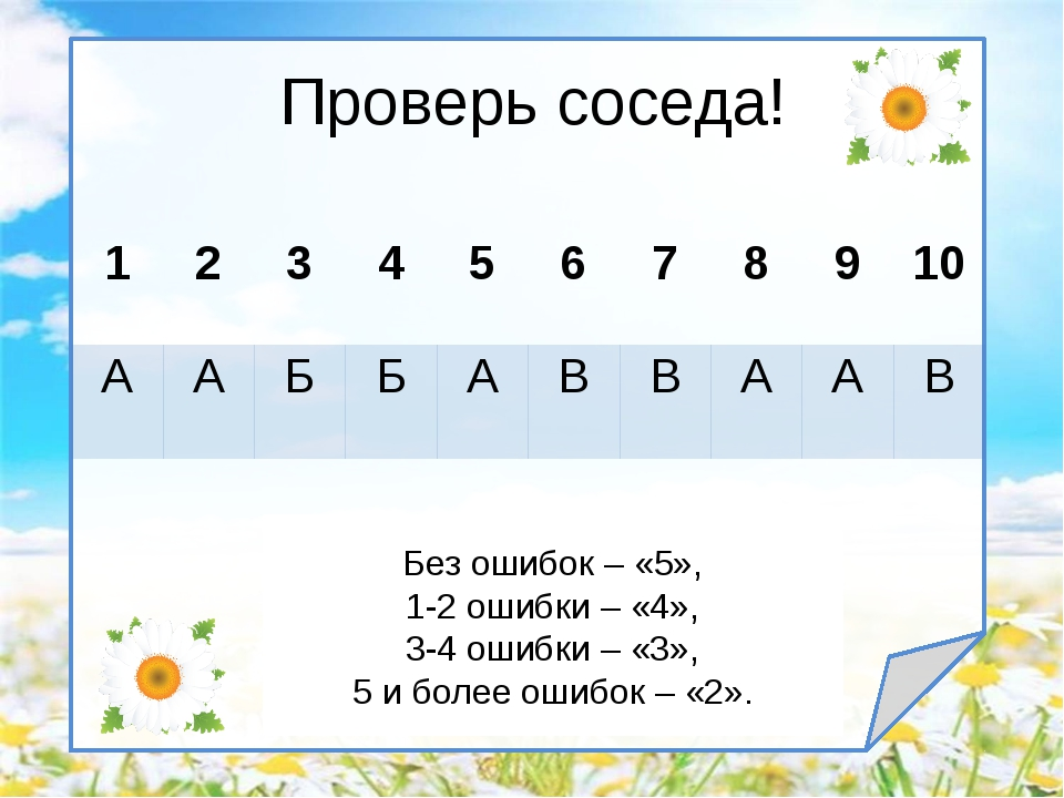 Проверь соседа! Без ошибок – «5», 1-2 ошибки – «4», 3-4 ошибки – «3», 5 и бол...