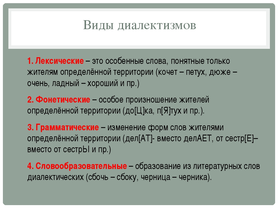 Виды диалектизмов 1. Лексические – это особенные слова, понятные только жител...