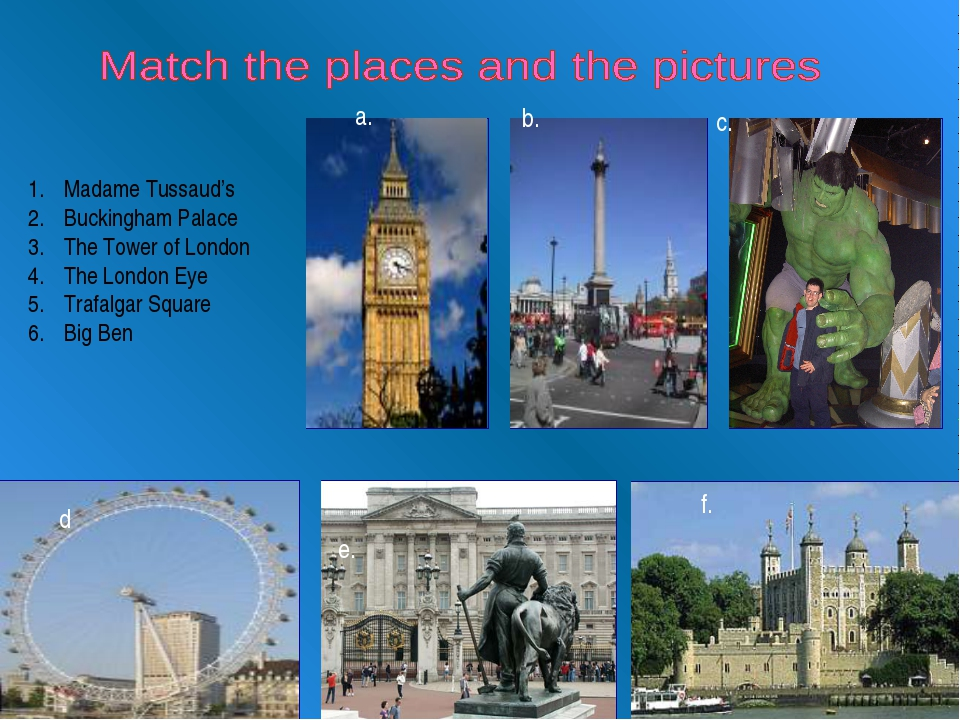 Madame Tussaud's Buckingham Palace The Tower of London The London Eye Trafal...
