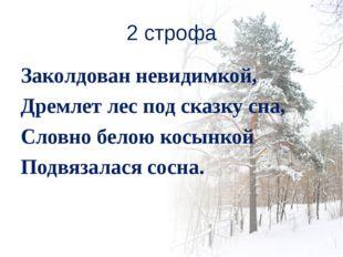 2 строфа Заколдован невидимкой, Дремлет лес под сказку сна, Словно белою косы