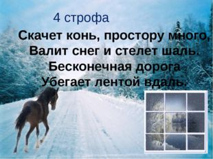 4 строфа Скачет конь, простору много, Валит снег и стелет шаль. Бесконечная д