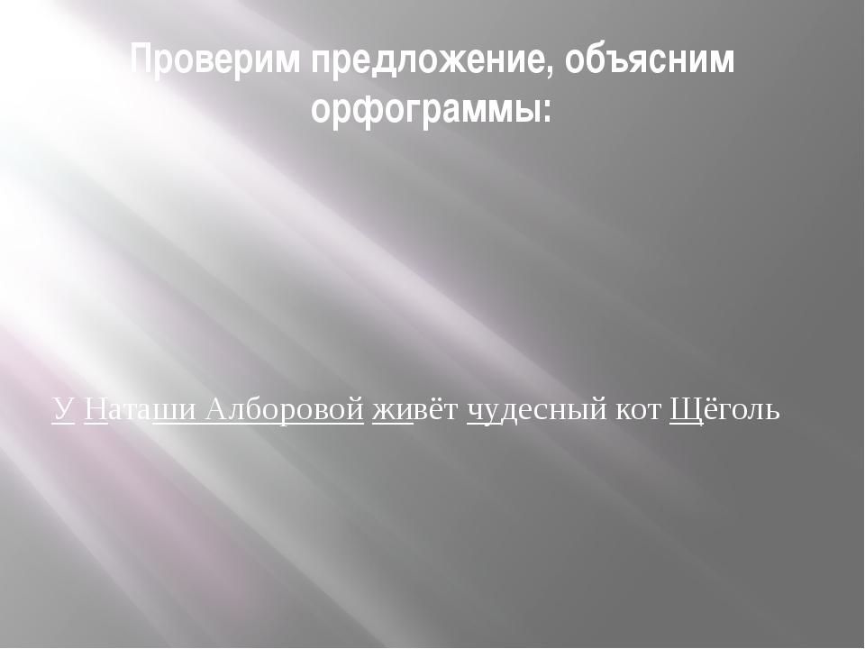 Проверим предложение, объясним орфограммы: У Наташи Алборовой живёт чудесный...